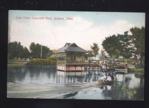 JACKSON TENNESSEE LANCASTER PARK LAKE VIEW BOATING VINTAGE POSTCARD TENN.