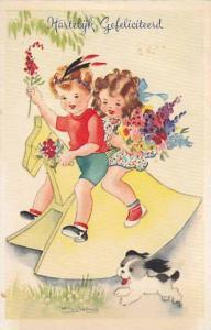 Artist Signed, Hartelyk Gefeliciteerd, Children holding flowers riding a wood...
