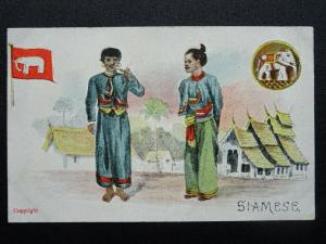 SIAMESE People Dressed in National Costume with Flag c1906 Postcard by G.D.& D.