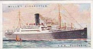 Wills Vintage Cigarette Card Merchant Ships Of The World 1924 No 3 T S S TUSC...