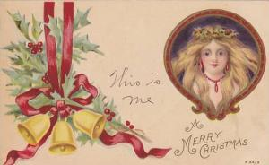 A Merry Christmas, maiden, bells, red ribbons and holly, PU-1906