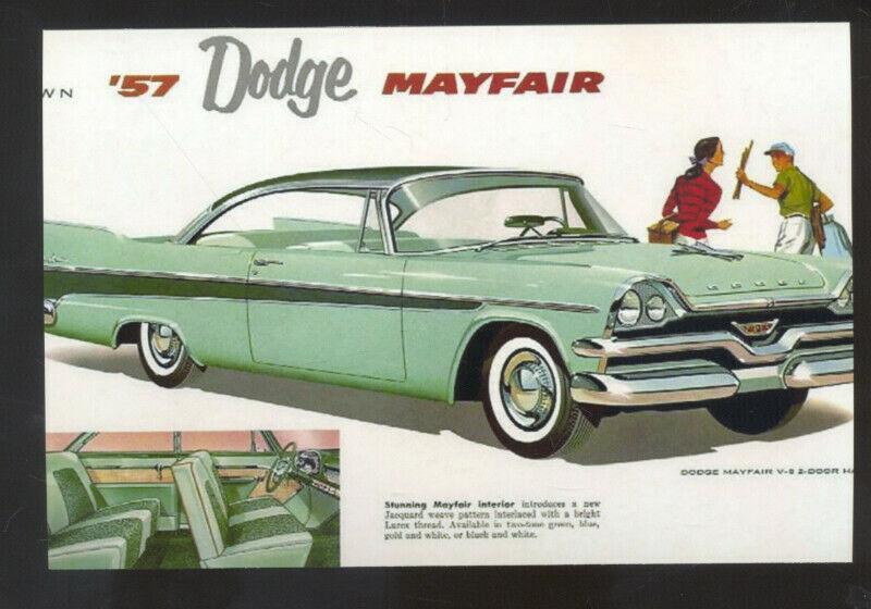 1957 DODGE MAYFAIR CAR DEALER ADVERTISING POSTCARD '57 MOPAR