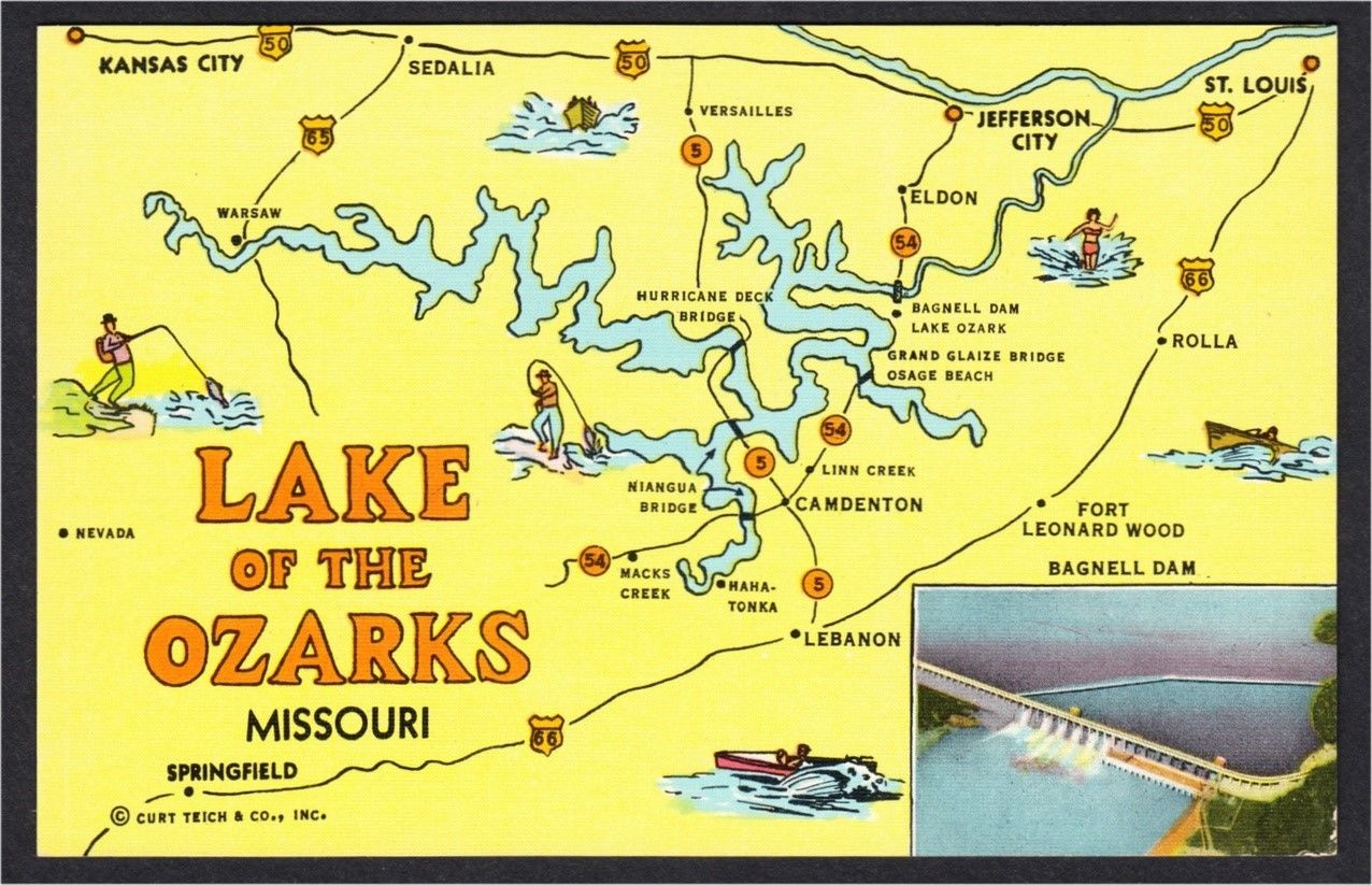 Lake Of The Ozarks Missouri Map And Bagnell Dam 1940s 1950s Linen