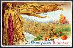Hearty Thanksgiving Greetings,Corn,Field