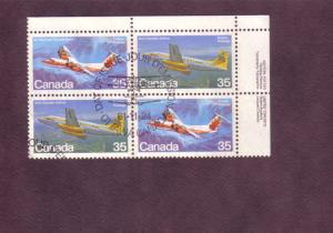 Canada, Inscription Block of Four, Used, Airplanes,  35 Cent, Scott #905-06