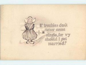 Divided-Back signed COBB SHINN - DUTCH GIRL STANDS AT SHORELINE o6979