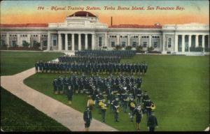 San Francisco CA Yerba Buena Island Navy Station Music Band c1910 Postcard
