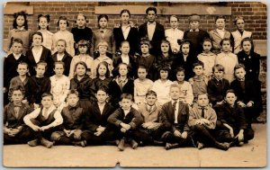 Vintage RPPC Real Photo Postcard School Class Picture Students Dated 1919