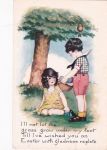 EASTER, 00-10s; Greetings, Boy shows colored eggs to girl, Poem