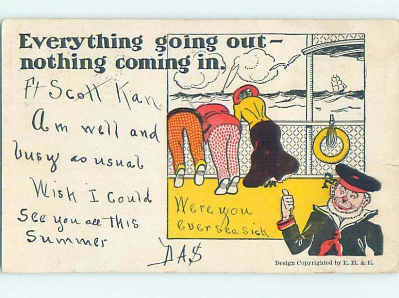 Pre-1907 comic SAILOR MAN POINTS TO SEASICK PASSENGERS HQ8478