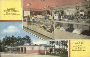 Saxon's Candy Kitchen Store Linen Postcard ATTALLA WELLINGTON HARPERSVILLE AL