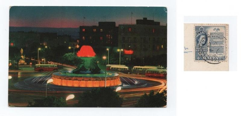 Postcard stamp MALTA year 1964 Triton fountain by night & BUS BUSES cars car