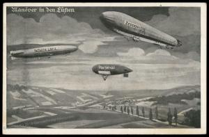 Germany Zeppelin Schuette Lanz Parseval Pioneer Airships In Flight PPC 78693