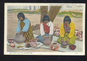 ALBUQUERQUE NEW MEXICO PUEBLO INDIAN WOMEN MAKING POTTERY OLD POSTCARD