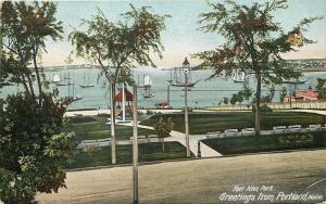 Portland Maine~Sailboats at Fort Allen Park~c1906 Postcard