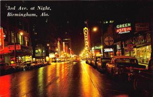 Birmingham AL Night Street View Store Fronts Movie Theatre Postcard