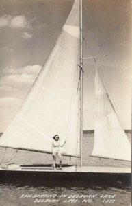 RP; DELAVAN LAKE , Wisconsin, 1930-40s ; Sail Boating