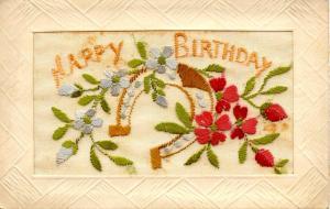 Embroidered Silk  - Happy Birthday