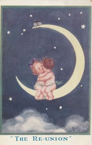 T GILSON ; The Re-Union , Child cuple sitting on Moon , 1900-10s