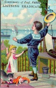 LIGHTNING ERADICATOR - SAILOR BOY GIRL - PIER BOAT - VICTORIAN TRADE CARD NY