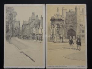 Cambridge: 2 x A Sketch Book Art Postcards by Walter M. Keesey c1929