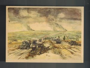 Mint WW2 Germany Army Wehrmacht Truck Convoy in Russia Artist Picture Postcard