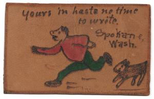 Vintage Leather Postcard Yours in Haste Spokane WA