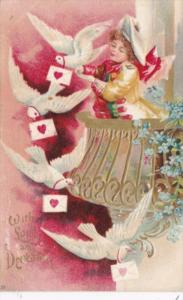 Valentine's Day With Young Boy and White Doves 1908