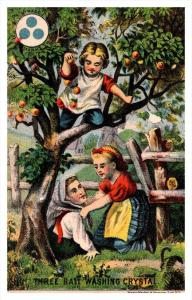 13477  Trade card  NY Three ball Washing Crystal, Children playing Apple tree