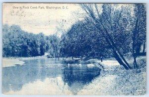 1908 ROCK CREEK PARK VIEW WASHINGTON DC ANTIQUE POSTCARD*FEEDING THE SWANS