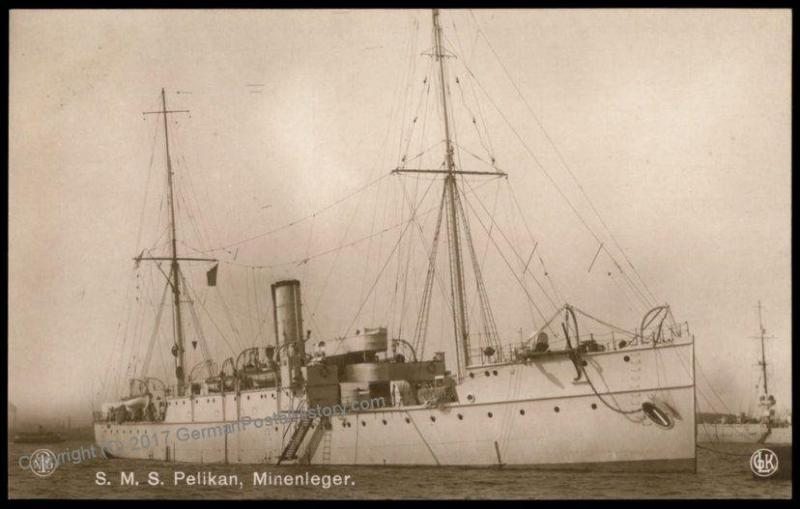 Germany WWI Navy Ship SMS Pelikan Minelayer  RPPC 70757