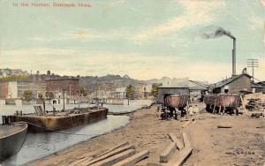Dubuque Iowa Harbor Scene Waterfront Antique Postcard K83034