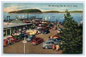 1953 Bar Harbor Maine Municipal Pier Postcard Classic Cars Sailboats