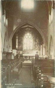 Bolton Church Interior C-1910 UK Lancashire RPPC Photo Postcard 20-9390