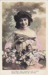 1er Avril April Fool's Day Young Girl Holding Basket With Fish 1910