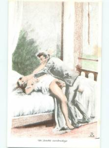 foreign c1910 Risque NUDE FRENCH WOMAN HAVING SEX WITH CLOTHED MAN AB7317