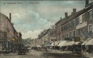 Gardiner ME Water St. Numerous Visible Store Signs Nice Quality c1905 Postcard