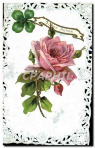 Old Postcard Fantasy Flowers embroidered