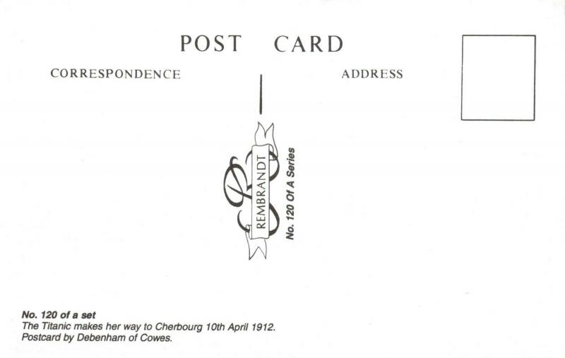 Postcard Liner S.S Titanic on her way to Cherbourg 10th April 1912 (repro) 36V