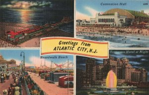 Greetings from Atlantic City, N.J. Boardwalk Beach, Traymore Hotel Postcard