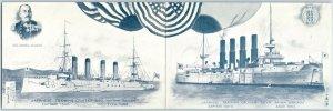 Vintage JAPANESE TRAINING CRUISER Postcard SOYA & ASO Ships c1910s Kin Kodo