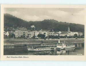 old rppc FERRY BOAT & BUILDINGS Bad Schandau Free State Of Saxony Germany HM2093