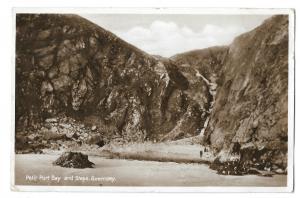 Petit Port Bay & Steps, Guernsey RP PPC, 1933 PMK to Sutcliffe Close London