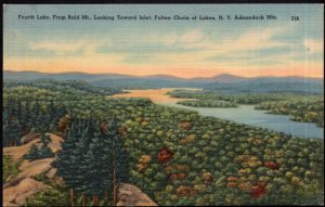 NY ADIRONDACK Fourth Lake from Bald Mt Fulton Chain of Lakes - pm1950 - LINEN