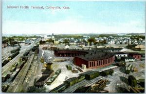 Coffeyville, KS Postcard Missouri Pacific Terminal Railroad Roundhouse View
