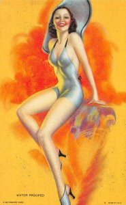 Pin-up Girl Bathing Beauty Blue Swimsuit Mutoscope Vintage Arcade Card AA1173