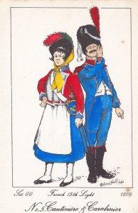 French 15th Light Regiment Carabinier Napoleonic War Soldier 1809 PB Postcard