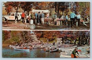 Postcard MI Gaylord Au Sable Lodge Canoe Along Season Chuck Wagon Picnic N5