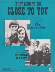 Close To You The Carpenters Rare Blue Cover MINT 1970s Sheet Music