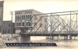 Painted Post NY I.O.O.F. Temple Iron Bridge Real Photo Postcard